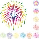 烟花,在颜色,烟花背景的爆炸 免版税库存图片