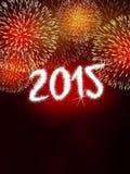 烟花2015新年好 免版税库存照片