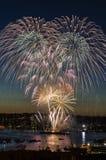 烟花7月四日西雅图华盛顿 免版税库存图片