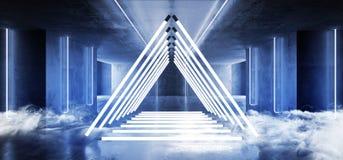 烟蒸汽三角金字塔霓虹发光的科学幻想小说白色蓝色未来派具体空的难看的东西反射性室充满活力的光谱 向量例证