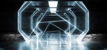 烟虚拟现实网络科学幻想小说未来派氖发光的外籍人船空间隧道走廊Glowoing充满活力的萤光激光 皇族释放例证
