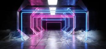 烟虚拟现实网络科学幻想小说未来派氖发光的外籍人船空间隧道走廊Glowoing充满活力的萤光激光 库存例证