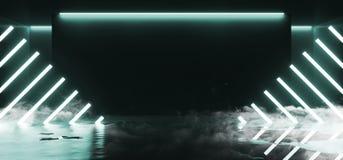 烟被掀动的线塑造了舞蹈点燃典雅室的反射的霓虹发光的萤光充满活力的蓝绿色空的阶段演播室俱 皇族释放例证