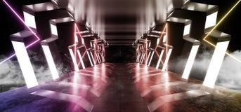 烟走廊太空飞船真正未来派科学幻想小说现代光滑的金属反射性外籍人入口走廊隧道黑暗的激光 向量例证