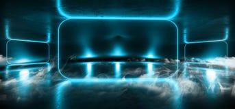 烟阶段霓虹陈列室俱乐部激光充满活力的光亮蓝色混乱三角黑暗的空的霍尔车库难看的东西具体反射性Sci 库存例证