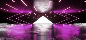烟雾三角箭头金字塔霓虹发光的科学幻想小说紫色未来派具体空的难看的东西反射性室充满活力的光谱 皇族释放例证