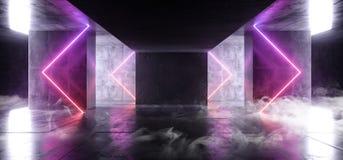 烟雾三角箭头霓虹发光的科学幻想小说紫色蓝色未来派具体空的难看的东西反射性室充满活力的光谱 库存例证