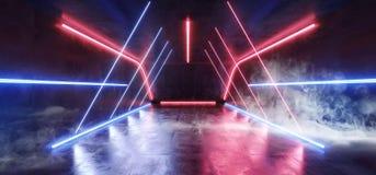 烟雾三角萤光充满活力的霓虹未来派科学幻想小说发光的红色紫色蓝色虚拟现实网络隧道具体难看的东西 向量例证
