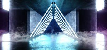 烟雾三角金字塔霓虹发光的科学幻想小说紫色蓝色未来派具体空的难看的东西反射性室充满活力的光谱 皇族释放例证