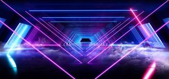 烟雾三角金字塔霓虹发光的科学幻想小说紫色蓝色未来派具体空的难看的东西反射性室充满活力的光谱 向量例证