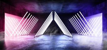 烟雾三角金字塔霓虹发光的科学幻想小说紫色蓝色未来派具体空的难看的东西反射性室充满活力的光谱 库存例证