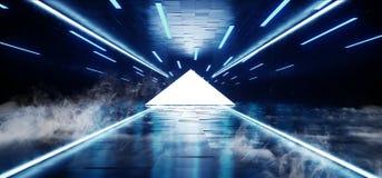 烟雾三角霓虹发光的科学幻想小说蓝色未来派具体空的难看的东西反射性室充满活力的光谱萤光光亮 皇族释放例证