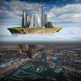 烟雾在作为环境污染概念的城市 免版税库存照片