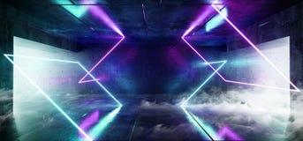 烟雾摘要长方形霓虹发光的科学幻想小说紫色蓝色未来派具体空的难看的东西反射性室充满活力的光谱 皇族释放例证