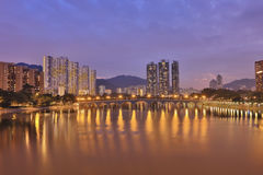 烟雾污染在沙公锡,香港 免版税库存图片