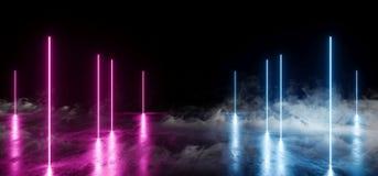烟雾烟激光未来派减速火箭的霓虹发光的线塑造了紫色蓝色充满活力的太空飞船俱乐部阶段建筑金属难看的东西 向量例证