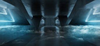 烟雾科学幻想小说未来派充满活力的蓝色虚拟现实激光外籍人船空间空的黑暗的隧道走廊沥青难看的东西混凝土 向量例证