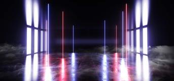 烟雾科学幻想小说真正发光的充满活力的霓虹未来派演播室阶段指挥台空的反射性蓝色紫色发光的光难看的东西 皇族释放例证
