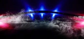 烟雾蒸汽阶段未来派蓝色紫色霓虹焕发科学幻想小说充满活力的黑暗的陈列室指挥台虚拟现实空的反射 向量例证