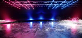 烟霓虹阶段陈列室俱乐部激光充满活力的光亮紫色蓝色桃红色橙色彩虹混乱三角黑暗的空的霍尔车库 皇族释放例证