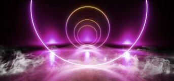 烟霓虹阶段陈列室俱乐部激光充满活力的光亮紫色蓝色桃红色橙色彩虹混乱三角黑暗的空的霍尔车库 库存例证