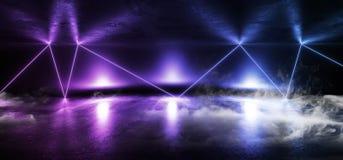烟霓虹阶段陈列室俱乐部激光充满活力的光亮紫色蓝色桃红色混乱三角黑暗的空的霍尔车库难看的东西混凝土 向量例证