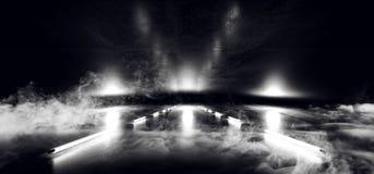 烟霓虹阶段陈列室俱乐部激光白色混乱三角黑暗的空的霍尔车库难看的东西具体反射性科学幻想小说未来派3D 库存例证