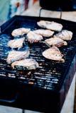 烤一条新鲜的切片金枪鱼,在火的鲜美格栅鱼 免版税库存照片