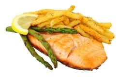 烤三文鱼内圆角和油炸物膳食 图库摄影