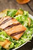 烤三文鱼凯萨色拉用油煎方型小面包片 库存图片