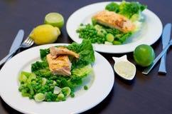 烤三文鱼和蔬菜 图库摄影