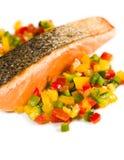 烤三文鱼蔬菜 图库摄影