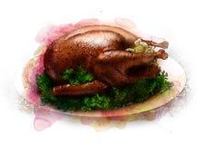 烤与充塞的火鸡在盛肉盘剪影 向量例证