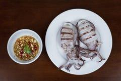 烤乌贼用泰国在白色板材的海鲜调味汁  库存照片