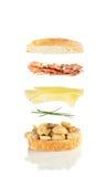 烤乳酪和烟肉三明治 免版税库存图片