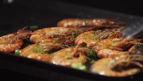 烤和在电烤肉的油煎的虾 在bbq的健康烤海鲜 烤红色虾特写镜头  股票录像