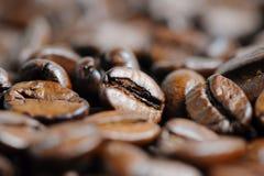 烤咖啡豆宏指令背景 免版税库存照片