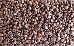 烤咖啡豆背景顶视图在自然光的 库存图片