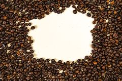 烤咖啡豆,可以用作为背景顶视图 库存照片