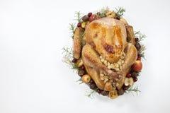 烤土耳其用在白色的劫掠苹果 免版税库存图片