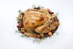 烤土耳其用在白色的劫掠苹果 库存图片