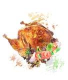 烤土耳其的水彩图象 免版税库存图片