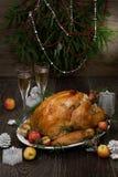 烤圣诞节土耳其用劫掠苹果 免版税库存照片