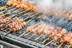 烤在木炭格栅的用卤汁泡的肉 库存照片