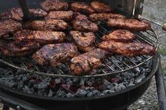 烤在木炭的肉 图库摄影