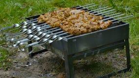 烤在格栅的用卤汁泡的shashlik Shashlik是烤肉串的形式普遍在东部,中欧和其他 股票视频