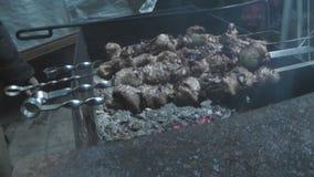 烤在火的肉,在串 股票录像