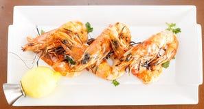 烤大虾新鲜的海鲜起始者  免版税库存照片