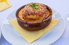 烤宽面条博洛涅塞的部分在赤土陶器小模子的 免版税库存照片