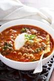 烤宽面条汤用绞细牛肉 免版税库存照片